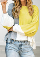 Color Block Knitted Casual Sweater