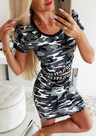 Camouflage Letter T-Shirt Tee And Skinny Short Dress Set