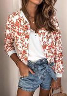Bellelily coupon: Floral Long Sleeve Zipper Jacket Coat - White