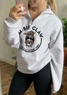 Leopard Mom Bie Claw Skull Zipper Collar Sweatshirt