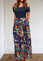 Leaf Pocket Cold Shoulder Maxi Dress