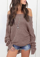 Knitted Off Shoulder Long Sleeve Sweater