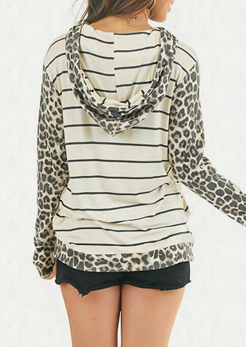 Leopard Striped Splicing Kangaroo Pocket Drawstring Hoodie