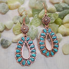 Bohemian Floral Turquoise Water Drop Earrings