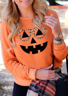 Halloween Pumpkin Leopard Glasses Sweatshirt