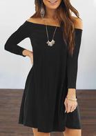 Off Shoulder Long Sleeve Mini Dress