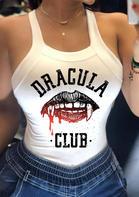 Halloween Dracula Club Lips Bowknot Open Back Tank