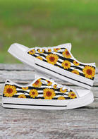 Sunflower Lace Up Flat Sneakers - White