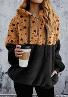 Bellelily coupon: Star Pocket Zipper Drawstring Fleece Hoodie - Black