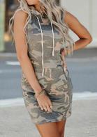 Camouflage Kangaroo Pocket Hooded Sleeveless Mini Dress
