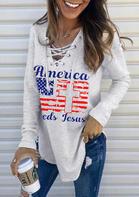 American Flag Cross Lace Up Letter Sweatshirt
