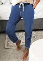 Drawstring Pocket Elastic Waist Jeans