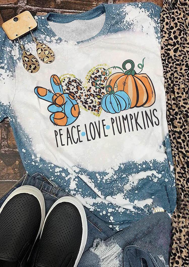Leopard Peace Love Pumpkins Bleached T-Shirt Tee - White