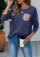 Sequined Pocket T-Shirt Tee - Deep Blue