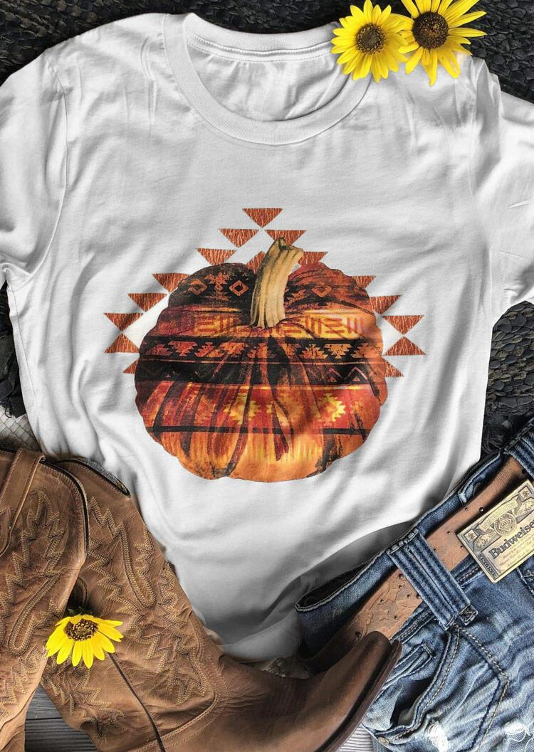 Halloween Pumpkin Aztec Geometric T-Shirt Tee - White