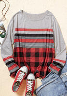 Buffalo Plaid Striped Splicing Long Sleeve Blouse