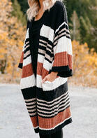 Striped Color Block Pocket Knitted Sweater Cardigan