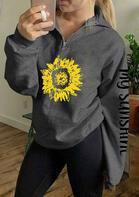 My Sunshine Sunflower Zipper Collar Sweatshirt