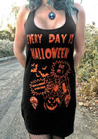 Everyday Is Halloween Pumpkin Skull Mini Dress