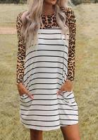 Striped Leopard Splicing Pocket Mini Dress