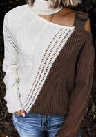 Color Block Turtleneck Cold Shoulder Sweater