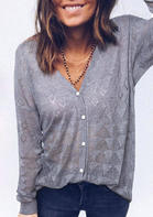 Button V-Neck Knitted Sweater Cardigan