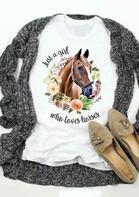Just A Girl Who Loves Horses Floral T-Shirt