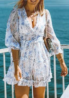 Floral Ruffled Open Back Zipper Mini Dress