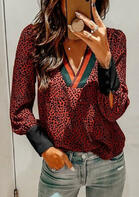 Leopard Splicing Striped V-Neck Blouse