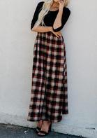 Plaid Pocket Three Quarter Maxi Dress