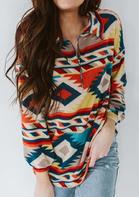 Aztec Geometric Zipper Collar Sweatshirt