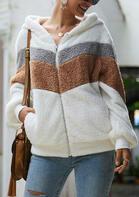 Color Block Zipper Pocket Hooded Fleece Coat