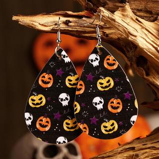 Halloween Pumpkin Skull Star Water Drop Leather Earrings