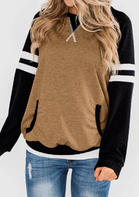 Striped Kangaroo Pocket Pullover Sweatshirt