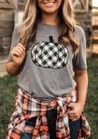 Plaid Pumpkin O-Neck T-Shirt