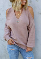 Cold Shoulder Twist Knitted Sweater