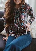 Steer Skull Geometric Button Drawstring Sweatshirt