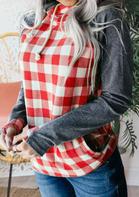 Plaid Kangaroo Pocket Zipper Drawstring Hoodie