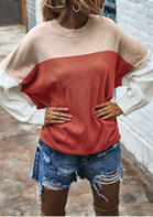 Bellelily coupon: Color Block Batwing Sleeve O-Neck Sweater - Brick Red
