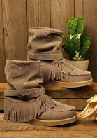 Vintage Tassel Buckle Round Toe Flat Boots