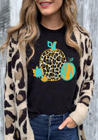 Maple Leaves Leopard Pumpkin Thanksgiving T-Shirt