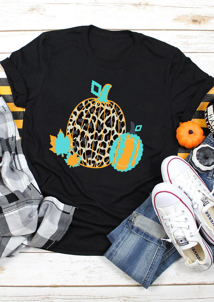 Maple Leaves Leopard Pumpkin Thanksgiving T-Shirt Tee - Black