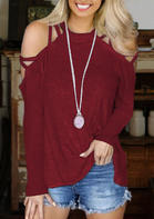 Hollow Out Criss-Cross Cold Shoulder Blouse
