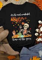 Bellelily coupon: Halloween Skeleton Leopard Pumpkin Maple Leaf Letter T-Shirt Tee - Black