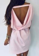 Open Back Pocket Mini Dress - Pink