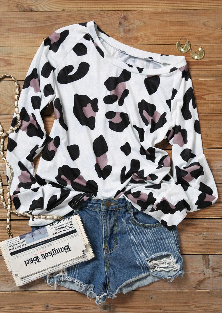 Leopard Long Sleeve O-Neck Blouse