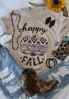 Thanksgiving Leopard Pumpkin Aztec Geometric T-Shirt