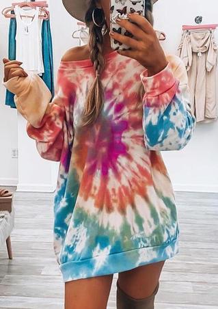Tie Dye O-Neck Mini Sweatshirt Dress
