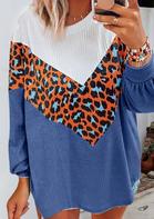 Leopard Color Block Batwing Sleeve Blouse