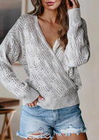 Wrap Hollow Out Knitted Sweater